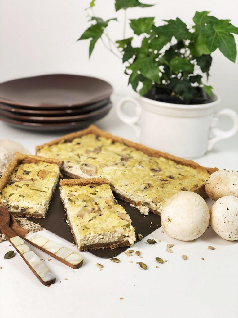 quiche de tofu e cogumelos